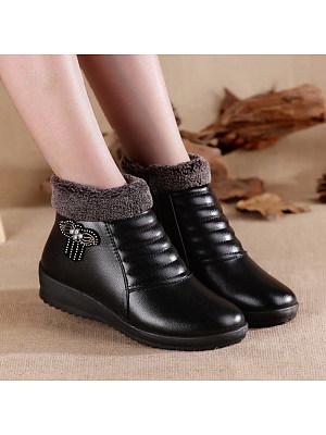 Fashion mother shoes plus velvet soft bottom non-slip boots