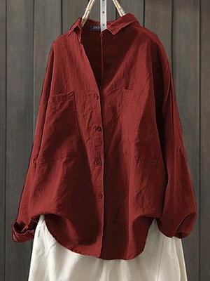 Turn Down Collar Plain Pockets Long Sleeve Blouse, 24689405