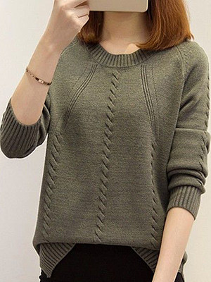 Round Neck Plain Long Sleeve Pullover Sweater фото