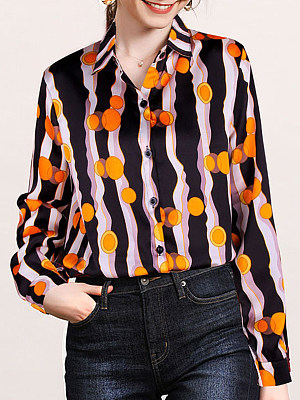 Turn Down Collar Printed Long Sleeve Blouse, 11317752