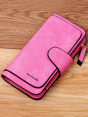 New buckle ladies Korean wallet big three fold fashion female bag multi-card position ladies wallet frosted two-tone fabric