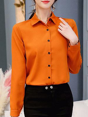 Turn Down Collar Plain Long Sleeve Blouse, 11170733
