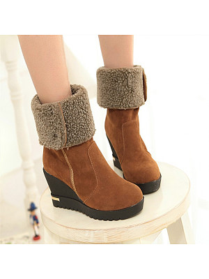 Fashion thick velvet high heel snow boots