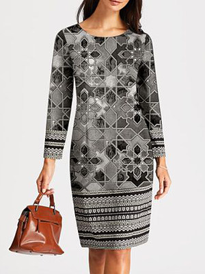 berrylook Elegant Geometric Pencil Round Neckline Sheath Dress