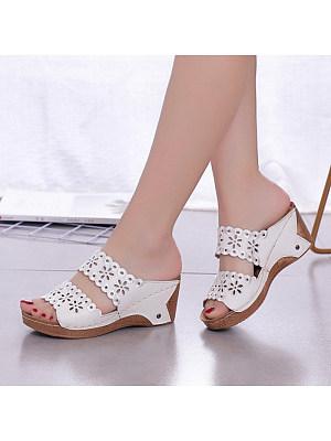 Casual flower hollow wedge heel women slippers