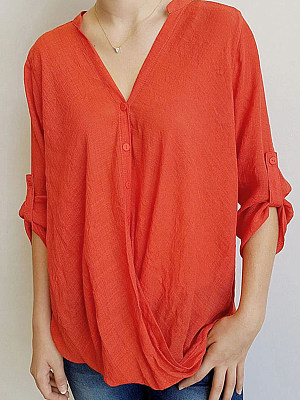 V Neck Plain Three-quarter Sleeve Linen Blouse, 24332296