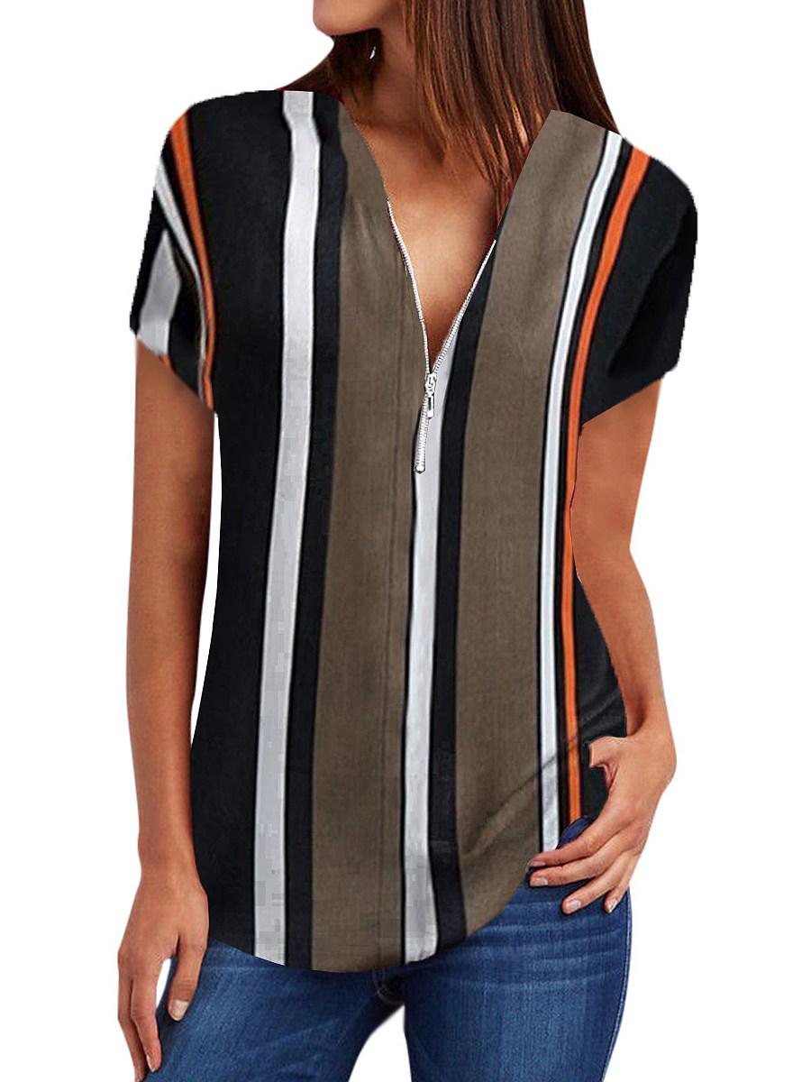 BerryLook V Neck Zips Striped Short Sleeve Blouse