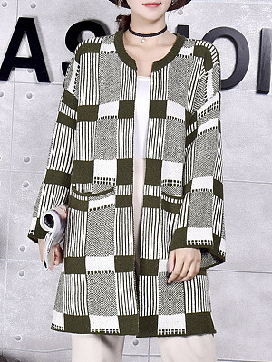Fashion Round Neck Plaid Long Sleeve Knit Cardigan, 10325739
