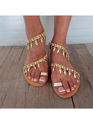 Rhinestone Open Toe Women's Flat Sandals, 10926541
