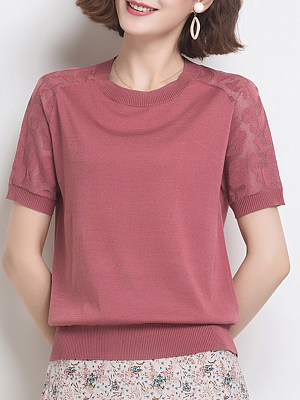 Round Neck Lace Patchwork Plain Short Sleeve Knit Pullover, 24560129