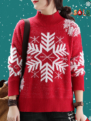 Round Neck Christmas Printed Long Sleeve Knit Pullover