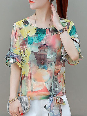 Round Neck Printed Short Sleeve Blouse, 11578018