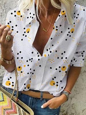 Turn Down Collar Dot Long Sleeve Blouse, 25024962