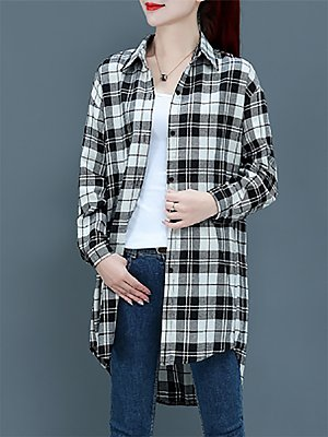 Turn Down Collar Casual Plaid Long Sleeve Blouse, 10715658