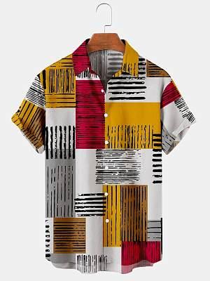 Mens Red Colorblock Print Casual Summer Shirts