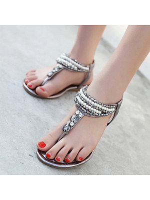 Elastic sandals with pearls and rhinestones
