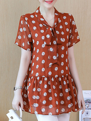 Tie Collar Dot Short Sleeve Blouse, 11355038