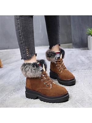 Women's fashion tie with velvet short tube snow boots, 9902821