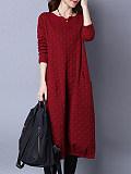 Image of Long Sleeve Jacquard Round Neck Dress