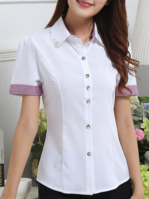 Turn Down Collar Patchwork Short Sleeve Blouse, 11418207