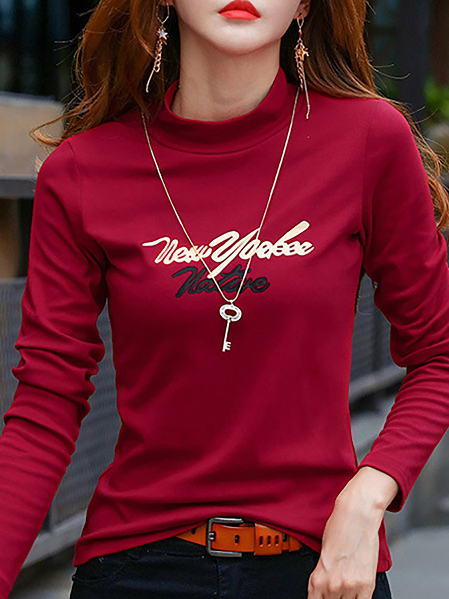 Casual High Neck Letter Printed Long Sleeve T-Shirt - from $18.95