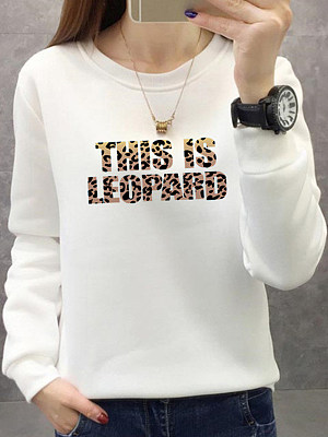 Women's Casual Letter Print Round Neck Sweatshirt gender:woman, season:autumn,winter,spring, collar:crew neck, texture:polyester, pattern_type:letter print, sleeve_length:long sleeve, sleeve_type:regular sleeve, style:japanese and korean style, dress_occasion:daily, bust:106,clothing length:63,shoulder width:44,