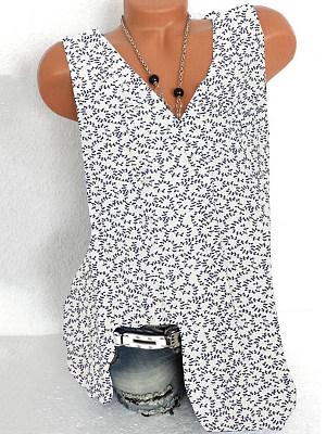 V Neck Printed Sleeveless T-shirt фото