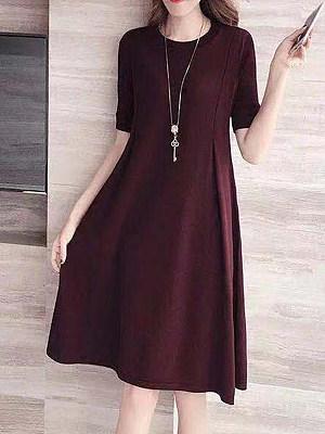 Ladies Fashion Round Neck Solid Dress фото
