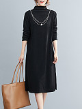 Image of High Collar Long Sleeve Solid Color Knitted Dress