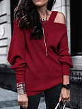 Image of Cold Collar Plain Long Sleeve Knit Pullover