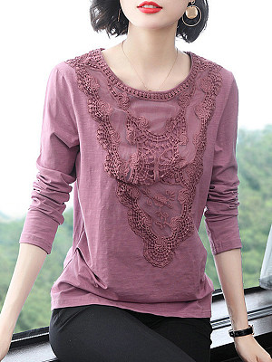 Round Neck Patchwork Long Sleeve T-shirt, 11268752