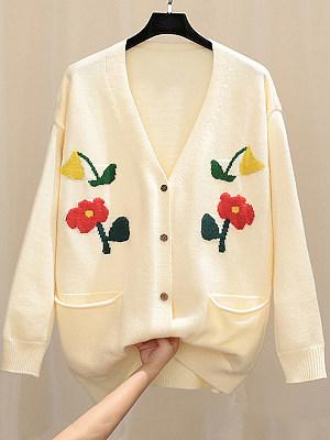 V Neck Floral Long Sleeve Knit Cardigan