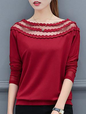 2018 autumn new bottoming shirt women's Korean version of the wild long-sleeved t-shirt loose mesh stitching long-sleeved shirt, 10063772