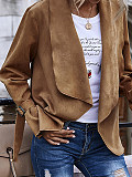 Image of Solid color cardigan cardigan large lapel suede super soft long sleeve jacket