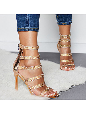Women's Sexy Rhinestone Strappy High-heeled Sandals, 27558933, BERRYLOOK  - buy with discount
