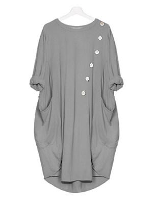 Round Neck Slit Pocket Plain Shift Dress, 11355387