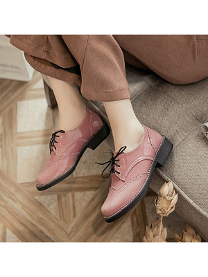 Women's college style lace-up leather shoes, 10794358