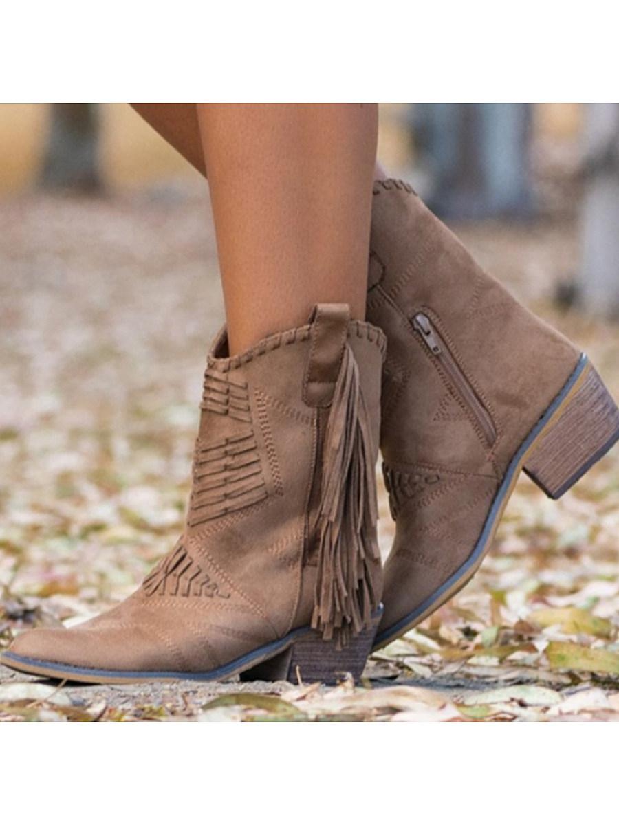 BerryLook Fashion medium tube thick heel side zipper women's boots