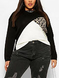 Image of Casual Long Sleeve Contrast Color sweater
