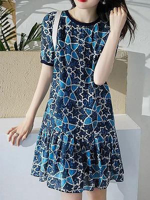 Round Neck Print Short Sleeve Skater Dress
