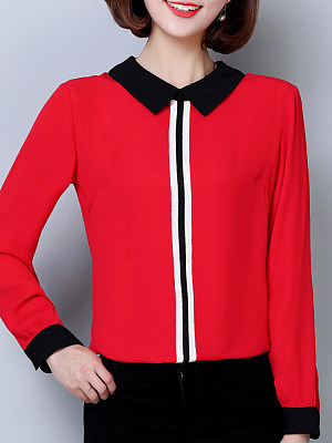Turn Down Collar Patchwork Long Sleeve Blouse, 11274743