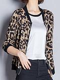 Image of Sun protection clothing women autumn short coat simulation silk leopard print baseball uniform cardigan jacket