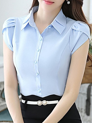 Turn Down Collar Plain Short Sleeve Blouse, 23693374