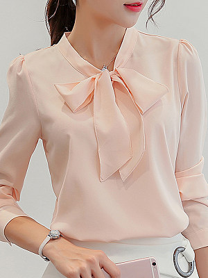 Summer new Korean women's wild shirt long-sleeved base white shirt shirt chiffon shirt wholesale agent, 10063722