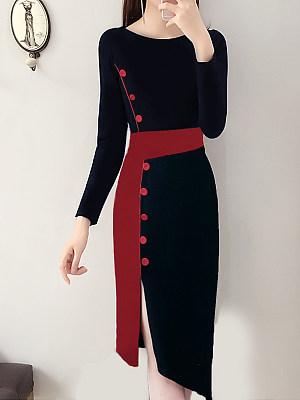 Women's Elegant Round Neck Colorblock Slim Dress