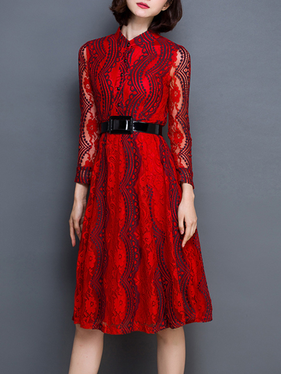 Women's lace long sleeve high waist hollow out dress - from $28.95