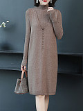 Image of Two-Piece Knitted Sweater Solid Color Dress