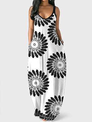 Loose Printed Sling Irregular Dress, 27586694, BERRYLOOK  - buy with discount
