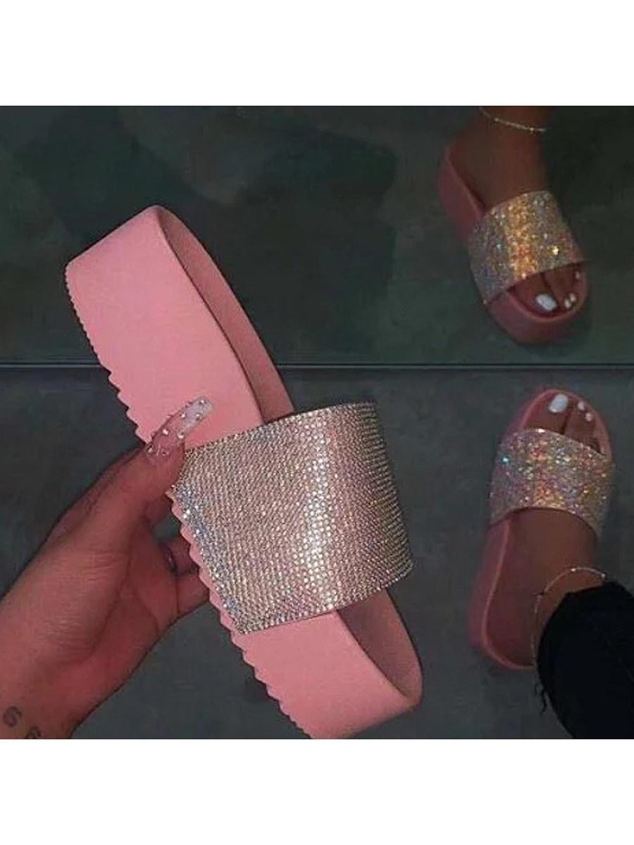 BerryLook Women's thick bottom rhinestone slippers
