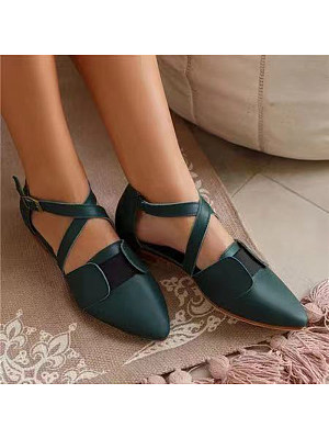 Women's Casual Solid Color Buckle Cutout Flats, 10997253